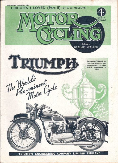 Triumph (by Covers etc)  From Motorcycle magazine, September 3rd 1942