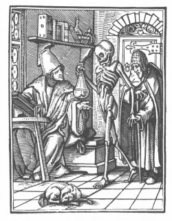 biomedicalephemera:  Danse Macabre XXVI: The Physician - Hans Holbein the Younger - early 1500s  so creepy/awesome