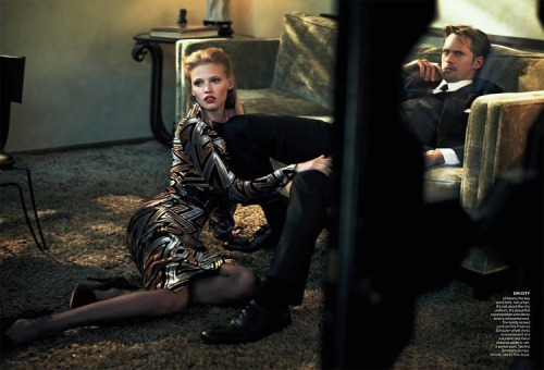 "Lara Stone and Alexander Skarsgård  Vogue (July 2011)   ""Spellbound"" styled by Grace Coddington and shot by Peter Lindberg."