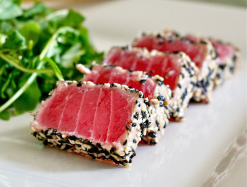 Sesame Crusted Seared Ahi Tuna. For the recipe from my blog Life Tastes Like Food, click HERE!
