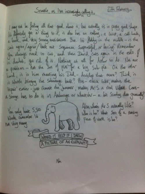 ununpentium:  Would it help if I drew a picture of an elephant? No. One of the pages of John Finnemore's Cabin Pressure diary for St Petersburg.