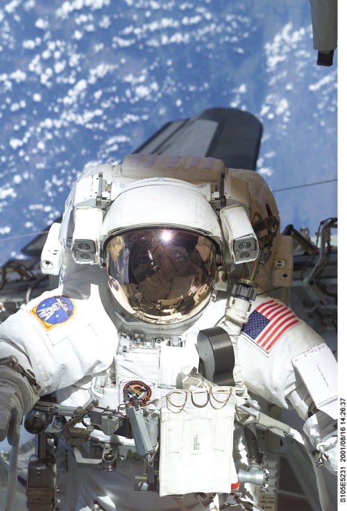 STS105-E-5231 (16 August 2001) —-  The helmet and torso of astronaut  Patrick G. Forrester are featured in this digital still camera's view  recorded during early stages of the first space walk on STS-105. Most of  the cargo bay of the Space Shuttle Discovery and the aft cabin is  reflected in the helmet visor.  Did I totally just buy a 100-piece puzzle of this photo at the dollar store? Yup.