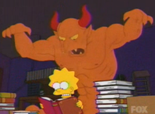 Lisa accidentally summons the devil, but throws the book to the side just in time in favor of some Mad Libs.  Submitted by Alex Leo