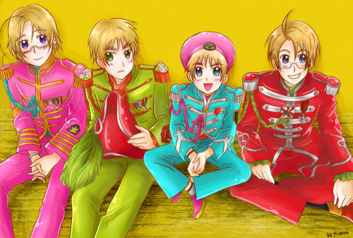 Hetalia + Beatles credit to Honoka on deviantArt