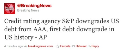 Great work, America. Now our credit rating is screwed.