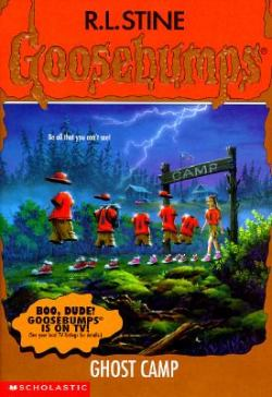 goosebumpscovers:  Goosebumps #45: Ghost Camp  Harry and his brother, Alex, are dying to fit in at Camp Spirit Moon. But the camp has so many weird traditions. Like the goofy camp salute. The odd camp greeting. And the way the old campers love to play jokes on the new campers. Then the jokes start to get really serious. Really creepy. Really scary. First a girl sticks her arm in the campfire. Then a boy jams a pole through his foot. Still, they're just jokes … right?    another one of my favorites! wahoo! gona youtube goosebumps now! lol