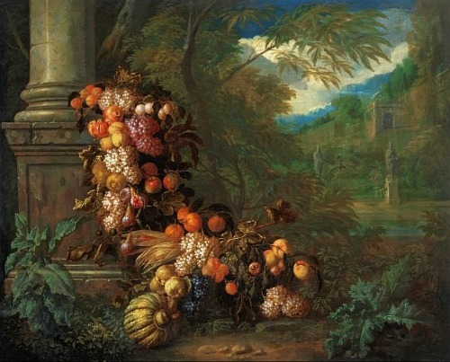Jan Pauwel Gillemans and Pieter Rijsbraeck Still Life with Fruit in a Landscape Early 18th century