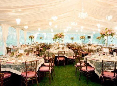 Such a stunning light and airy reception full of color and chandeliers!