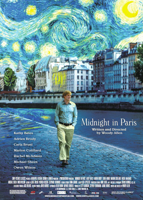 oliveontheroad:  Midnight in Paris (2011)Directed by: Woody Allen Written by: Woody AllenStarring: Owen Wilson, Rachel McAdams, Kurt Fuller, Mimi Kennedy, Michael Sheen, Nina Arianda, Carla Bruni, Alison Pill, Marion Cotillard, Tom Hiddleston, Kathy Bates, Léa Seydoux, Adrien Brody It's nice to know that, even after a bunch of so-so films from Woody Allen over the past decade, he can make something that rings true to his earlier sensibilities and give the audience a bit of much needed romantic and charming whimsy with a dash of wit.  This honestly would have been an easily rated 5 out of 5 for me if it were not for *believe me I'm cringing at saying this* every single scene with Rachel McAdams, the parents, and anyone not in Owen Wilson's historic fantastical type world of sorts. I love the actors rooted in the real world, but their characters were beyond cartoon and irksome. Perhaps that was the point, but every time Wilson had to interact with them, the movie started to drag, and I found myself looking at my watch so-to-speak (I say so-to-speak because I don't actually have…a watch).  Still…thank you Mr. Allen for a fantastic and yeah…magical (however cheesy it sounds) film! My rating: 4.5/5