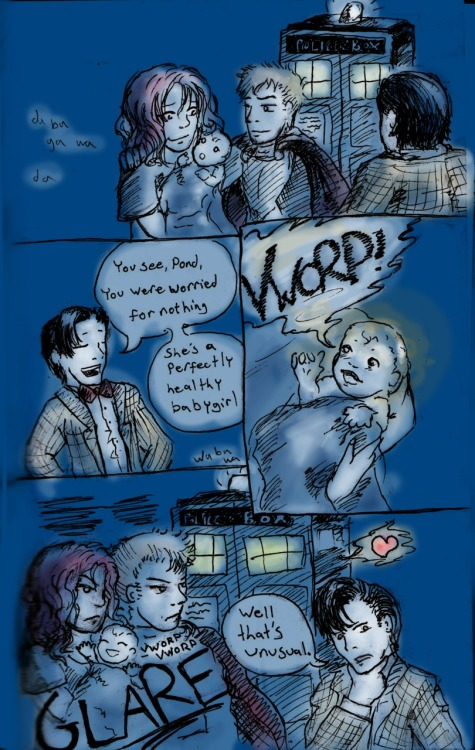 "VWORP VWORP I haven't been doing the 30 Days of Doctor Who until now (though I have answered all the questions internally…), but since today's Fanart Friday and the prompt ""Draw what you think a time head would look like"" was too interesting to pass up… this happened. Although I suppose it's more of what a ""time head"" would sound like.  Also I totally inked part of this comic with my sonic screwdriver pen."