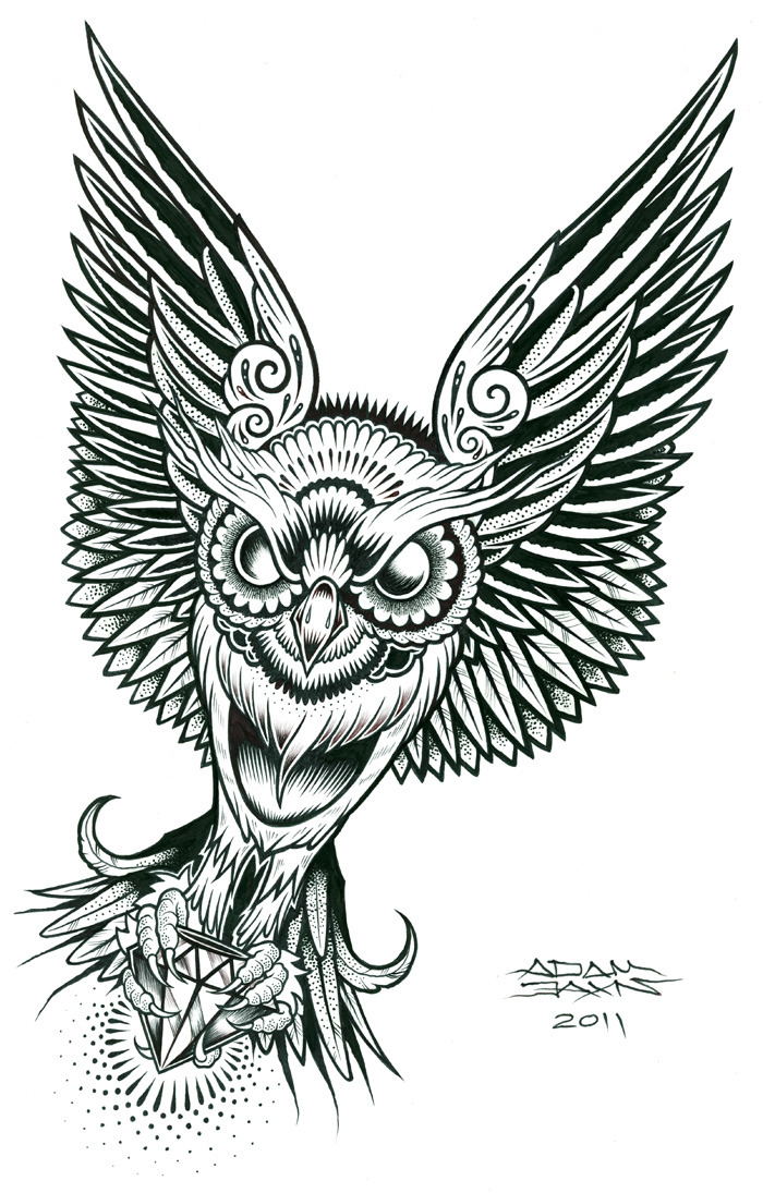 OWL pen and ink on 11 x17 cardstock