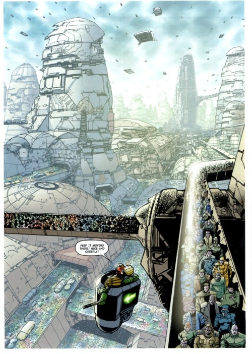 The wonder of Mega-City 1 - viewed in glorious Flint-O-Vision. From 'Total War', Pt 4, Prog 1411.