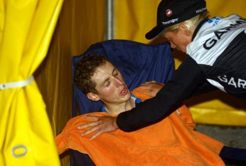 Tour de Pologne 2011 | Stage 6 An exhausted Dan Martin after stage 6 which was 207.7km long with ten climbs, the final one of which had a gradient of 23% in places.  Dan moves into the leader's jersey but will have a tough task to hold off Sagan for the overall win. (via Tour De Pologne 2011: Daniel Martin Is Attended To After A Tough Finish, Photos | Cyclingnews.com)