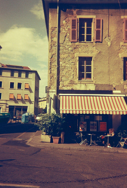 | ♕ |  Old corner cafe in Geneva  | by © Alejandro Melero | via ysvoice