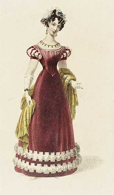 Ackermann's Repository, Evening Dress, December 1826.  This gown is made of velvet!  So rich and luscious- I would love to wear this!