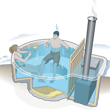 DIY: Make Your Own Hot Tub How to build your own wood-fired hot tub.It's not the easiest job, but building your own wood-fired hot tub can save you thousands of dollars if you're willing to dig a hole and learn some basic concrete skills. Use a shovel and a pickax to dig a pit, making it at least six inches bigger on all sides than the size of the finished tub you want. Be sure to pick a location free of roots or bedrock. Make the hole as deep as you like, but smaller tubs will heat faster. As for the shape, a keyhole design is ideal, since you can place the woodstove safely away from the larger sitting area. Remember to cut benches and steps, too. Line the pit with plastic sheeting, using roofing nails to tack it into the dirt. Cut sections of two-inch-thick closed-cell insulating foam—available at any home-improvement store—and line the pit, laying the foam on top of the plastic sheet. Hold it in place using chicken wire, which should cover the interior of the tub and anything else you want to make out of concrete. Get a professional to help you estimate how much concrete you'll need. Mix the concrete in a wheelbarrow, slathering it onto the chicken wire as smoothly as possible. Start high and work low, since drops will fall to the floor of the tub. Wear gloves. Smooth? Good. Now let it cure for a week. Once it's cured, paint at least two coats of concrete sealer. (Note: You'll need to reseal it every year with concrete paint.) Buy a submergible stove for around $750 (http://snorkel.com) and place it in the narrow part of the keyhole pit. You'll want to install wood fencing between the stove area and the soaking area to keep people from accidentally bumping into the burner. Though the stove comes with mounting brackets, it's best to anchor it with dumbbells to keep it from floating. You'll need a way to drain the tub. The simplest method is to buy a Quick Drain system—a handheld pump that siphons and vacuums out water ($75; http://hottubessentials.com). Make an insulating cover out of two-inch closed-cell foam to hold in heat. Fill the tub and stoke the fire at least six hours before your party. The first heating can take closer to 10 hours, depending on the size of the tub. But once the water is warm, it can take as little as six hours to get hot again. Aaron Huey made a giant wood-fired hot tub a few years ago for some of the best parties that northern New Mexico has ever seen. They involved numerous DJs, a giant golden bull made of fuel-soaked papier-mâché (which burned gloriously), and dozens of naked women.- SKIING MAGAZINE, FEBRUARY/MARCH 2009