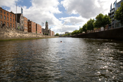 LIFFEY SWIM The Liffey, despite its role as the central axis of the city is largely invisible. Crossing the river daily the artist began to see the waterway in a new light and soon completed several long swims along its course in an attempt to interact with an otherwise forgotten space. This practice was documented with a film and series of photographs.