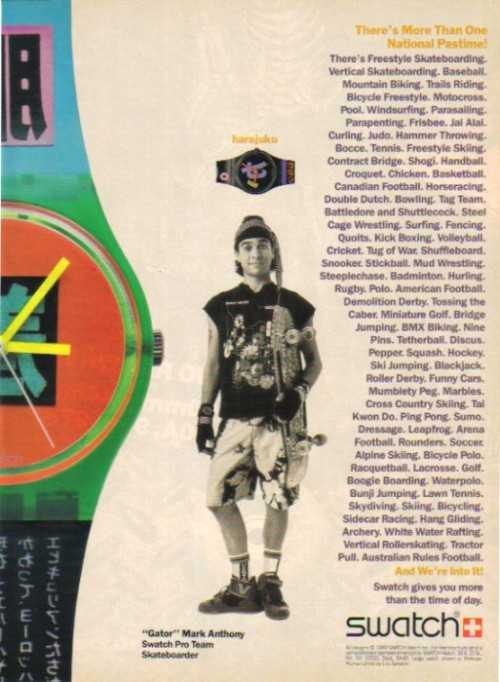 "Swatch gives you more than the time of day. Skateboarder Mark ""Gator"" Rogowski poses for a Swatch ad."