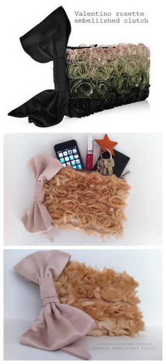 DIY  Valentino Inspired Rosette Embellished Clutch tutorial from inspiration & realisation here. This tutorial is worth it just for the bow (besides the pretty clutch)! I posted where to buy the gorgeous rosette trim here but it's now sold out. Top Photo: $1295 Valentino Rosette Embellished Satin Clutch here, Bottom Photos: DIY by inspiration & realisation.