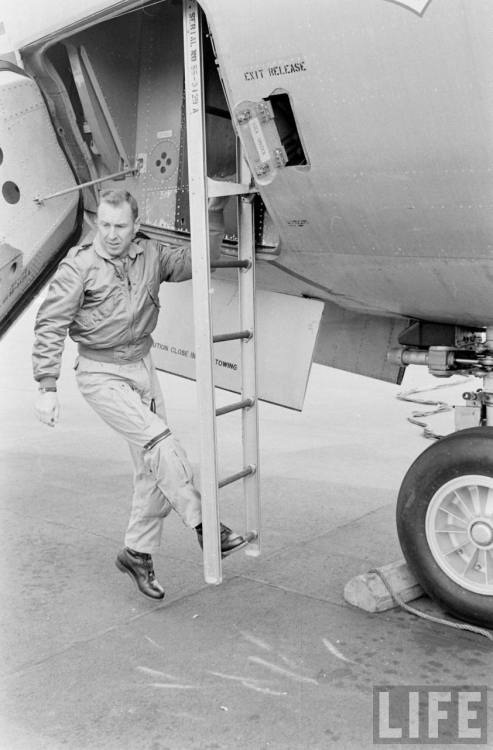 lightthiscandle:  Jim Lovell exits the KC-135 after weightless training, 1963.  Remains badass while doing so.