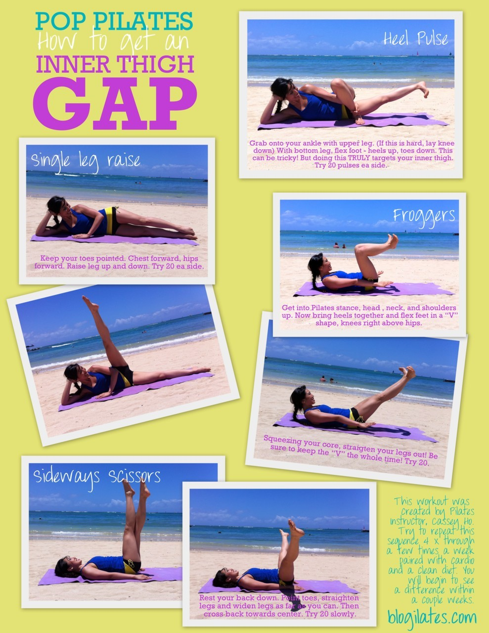 New printable! How to get an inner thigh gap in 4 easy moves! This is one of the most highly requested things I am asked about, so here you go! Print, share, and sweat! I'm going to the beach now to film this. Video coming soon!!! <3 Cassey