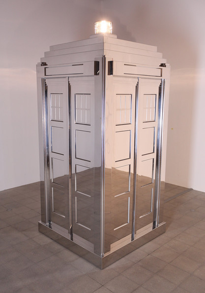 "This is Mark Wallinger's ""Time and Relative Dimensions in Space 2001″, a life-sized mirrored model of the TARDIS from ""Doctor Who,"" which at certain angles seems to blend into its environment. It was exhibited at The Hayward Gallery in February 2009."