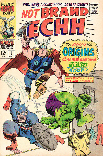"Not Brand Ecch #3 (1967) [Stan Lee used to poke fun at DC Comics - their competition - on the Bullpen Page, etc.. He dubbed them ""Brand Ecch"" a variant of ""Brand X"", hence the title of this groovy comic series…]"