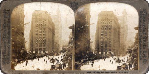 Park Row and Nassau Streets, New York. Undated stereogram, by The Universal Photo Art Co. Philadelphia, Naperville, Illinois. Photo: Carlton Harlow Graves, c1900.