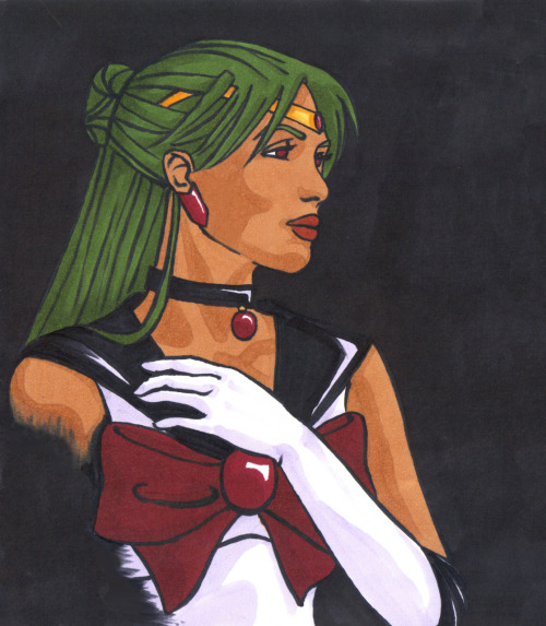 Sophie Ricard's Sailor Pluto  Sailor Pluto, portrait in the darkness! I love her because of how different she is from the other Scouts. Dark skinned, exotic, calm and mature. Full Markers again, with a bit of photoshop for small corrections.