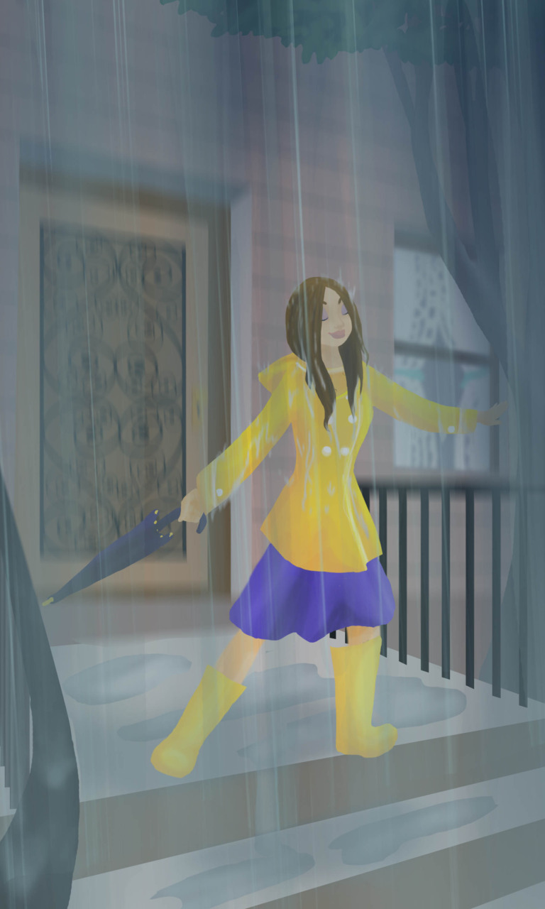 I love the rain. Combo Illustrator and Photoshop.