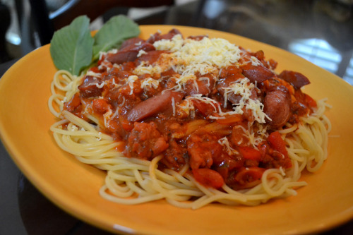 manyamanblog:  Filipino Spaghetti-the Manyaman Style (Try out my Recipe below!) WHAT YOU NEED: 1 Pack of Spaghetti Pasta 3 Tbs of Olive Oil 5 Cloves of Garlic (Minced) 1 Onion (Minced) 1 Red Bell Pepper (Sliced Thin) 4 Tbs. Brown Sugar 1 Bottle of Banana Ketchup (I like the Jufran Brand, Available in Asian/Filipino Stores) 1 Bottle of Classico Pasta Sauce (Pick any flavor or brand you like) 1 small can of Tomato Sauce/Tomato Paste 1 Pound of Ground Pork 1 Pound of Ground Beef 4 Hot Dogs (Sliced anyway you like) Salt & Pepper to taste HOW ITS COOKED: (Have a separate pot of water ready to boil the Pasta-Follow cooking instructions on Pasta package) In a pot, Heat Olive Oil Fry sliced hot dogs until slightly golden brown, then set aside In the same pot, saute Garlic & Onion for about 3 minutes. Add the Ground Pork & Ground Beef (Let simmer for about 10 minutes until cooked) Add in Tomato Sauce Add in Pasta Sauce Add in Banana Ketchup Add in Brown Sugar Lightly Stir all ingredients and let simmer for about 15-20 minutes on low heat Add in Red Bell Pepper Add in Salt & Pepper to taste then turn off heat Have a platter of cooked pasta ready to top with sauce Top with Eden Cheese or your favorite grated Cheese Enjoy your Manyaman Filipino Spaghetti!