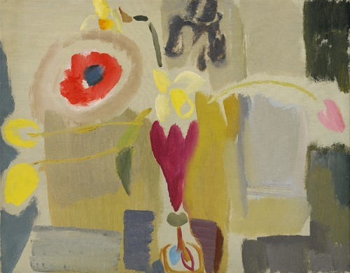 Ivon Hitchens Daffodils, Poppies & Tulips - Ruby Vase 1933