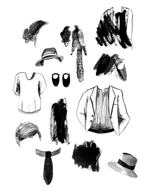 ink drawings of accessories worn by 1920s australian criminals