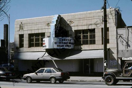 1988 view of the Theatrical Outfit theater, near the northwest corner of 10th Street at Peachtree Street. Midtown Atlanta (via Atlanta History Center Album. Midtown)