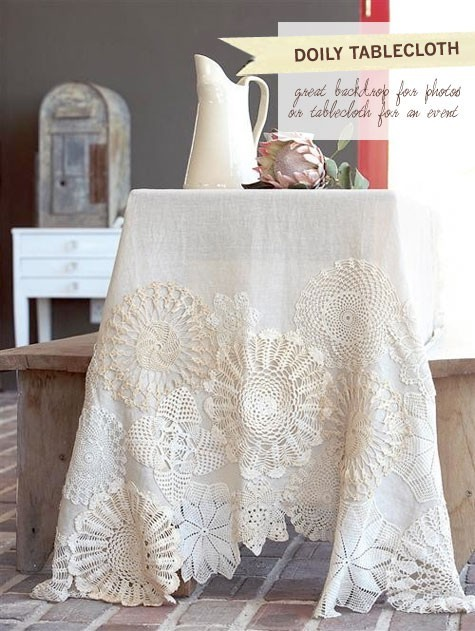 thruapinhole:  Doily tablecloth