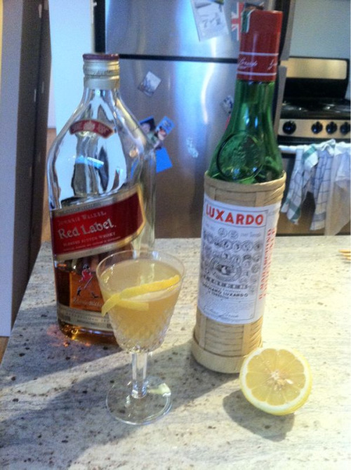 Scotch Crusta, one of Lee's favorites.  1/2 oz. Lemon juice 1/2 oz. Maraschino liqueur 2 oz. Scotch  Shake with ice, serve with a sugared rim & a lemon twist.  Distant grandfather of the margarita!