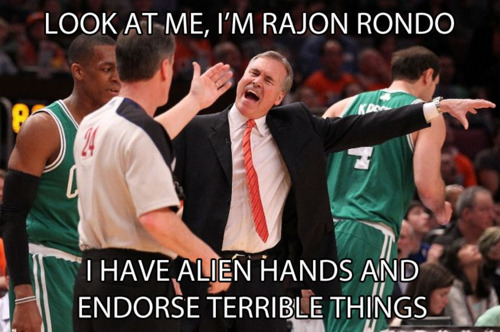 Mike D'antonni doing a Rajon Rondo interpretation.