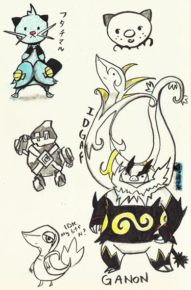 Page from my sketchbook. I never drew Dewott, so I decided to.  Also, I got a Snivy, who is now a Serperior.  I named him IDGAF.  I also got a Tepig.  I didn't really care for Tepig, but I like his final evolution 'cause it makes me think of Ganon, thus I named him Ganon.  I also leveled my Golett to a Golurk.  I named him Gato (Chrono Trigger anyone?).