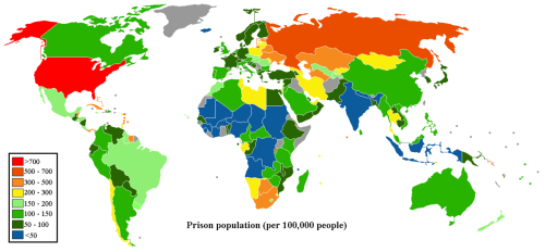 logicallypositive:  A chart showing the population density of prisoners in various countries. Notice the one red country on the entire chart: the USA.