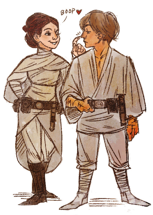 redribbonrobot:  Daily Doodle 06/30: Two Skywalkers. :) When I was little I loved the idea of Luke and Leia going off and having adventures all over the galaxy. It would have been neat to see them learning how to be siblings as two adults.  even a reference to this having happened is all I want from Episode VII.