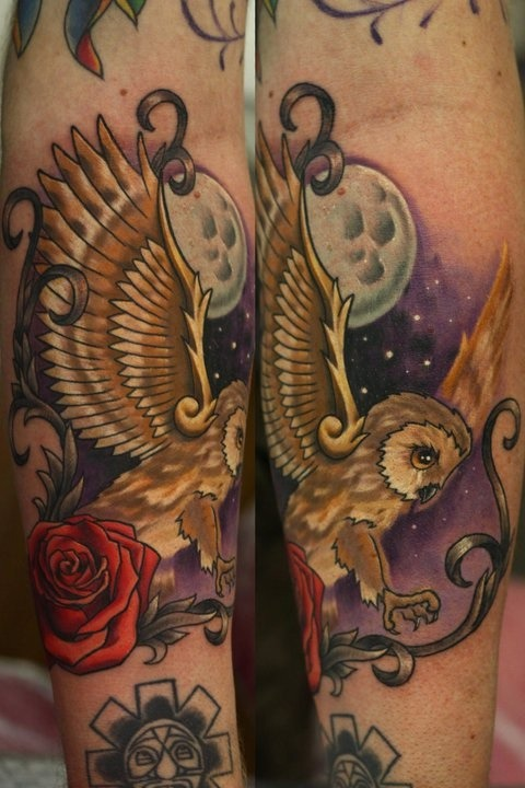 fuckyeahtattoos:  This is my owl tattoo on my forearm. I got it because I like owl's but more because I like wings, that's it, no deep and meaningful reason. Big thanks and congrats to my tattoo artist John Anderton at Nemesis Tattoo at Seaham Co. Durham who's just won the UK's best male artist award at TattooJam 2011! Well deserved, which is why I don't mind driving 2 hours to Seaham (arse end of nowheres-ville) for him to tattoo me. Thanks for looking! Steve  Best tattoo ever. So good!