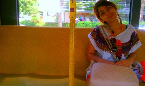 DLA Intern, Hazal, aka @Hazzist on the bus. Imani took this with her HTC EVO.