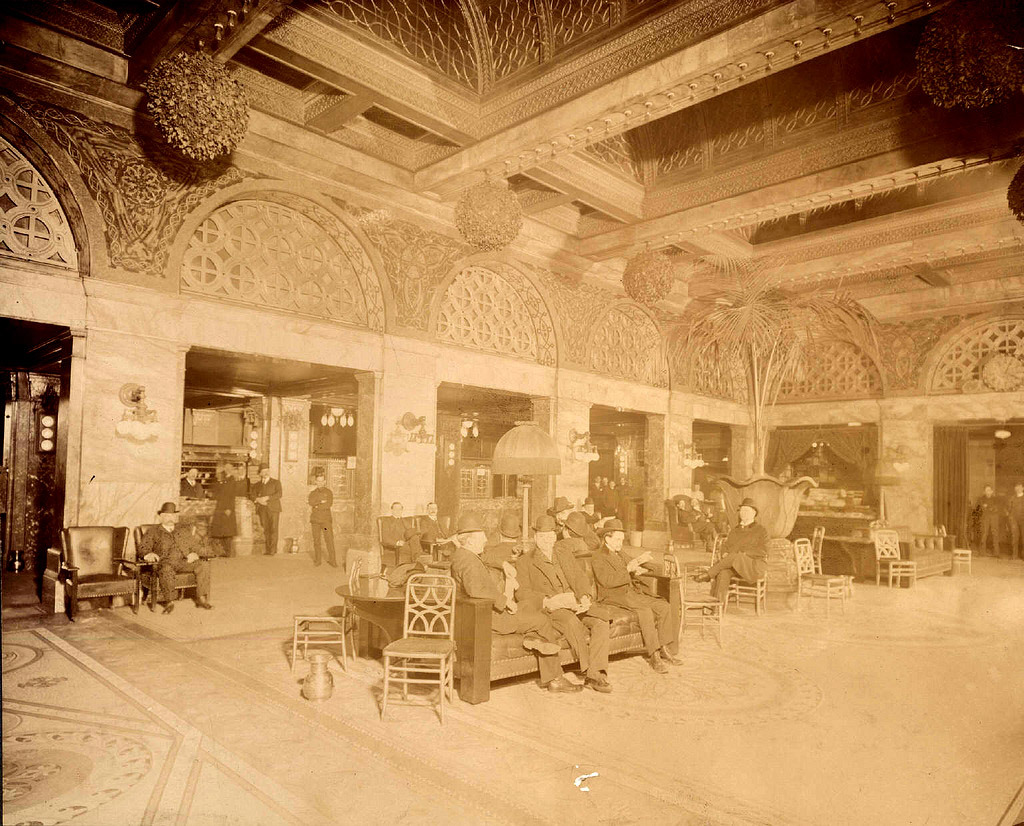 Adler & Sullivan's Auditorium Hotel Lobby in the 1890's, Chicago