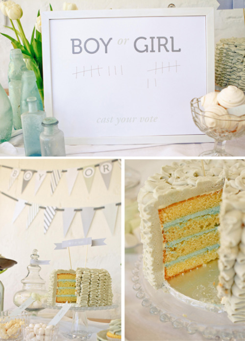 scissorsandthread:  Boy or Girl? Gender Reveal Party | The Pretty Blog My sister was telling me recently that a friend of hers had a baby reveal cake at her baby shower. I'd never heard of it so I did some Googling and was amazed at how popular it is! What I like about this idea is that you get to share the amazing surprise with all your family and friends! There are different games too - get your guests to add to the tally whether or not they think it's going to be a boy or girl, and the super sweet 'Dear Baby' game where guests write their wishes to the bub to be. Very Cinderella-ish! And the best part - the reveal cake, because not only do you get to find out the sex of the baby but you get delicious cake too!