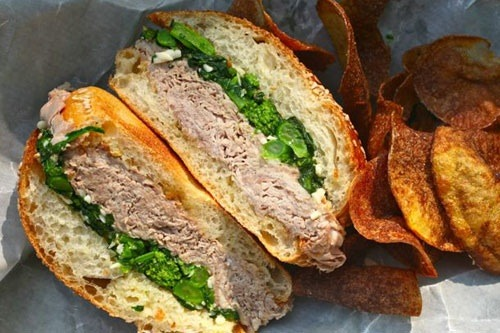 Slow-Roasted Pork Rabe Sandwich