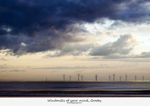 Windmills of your mind, Crosby.  HSS on Flickr.A shot from a little while back from the beach, so I've gone past saying sorry for Another place shots, but the windturbines must come a close second for taking centre stage in shots that I upload, but I find something magical about them when they are spinning. Thanks for looking.Twitter |  Tumblr  |  Mymodernmet | DeviantArt | Getty  |  RedBubble  |  Youtube  |  500px