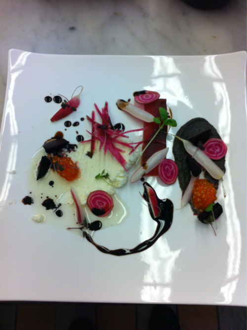 Chef playing around with plating for a new dish. We decided not to go with this style, but it's still an awesome concept none the less. The components will stay, but the plating will change for a faster pickup during busy service.   What we have is Compressed Watermelon, Watermelon Radish, Goat Cheese and Marscarpone, Roasted Red and Purple Baby Beets, Reduced Balsamic, Breakfast Radishes, Candy Stripe Beets, Roasted Eggplant, and Tomato.