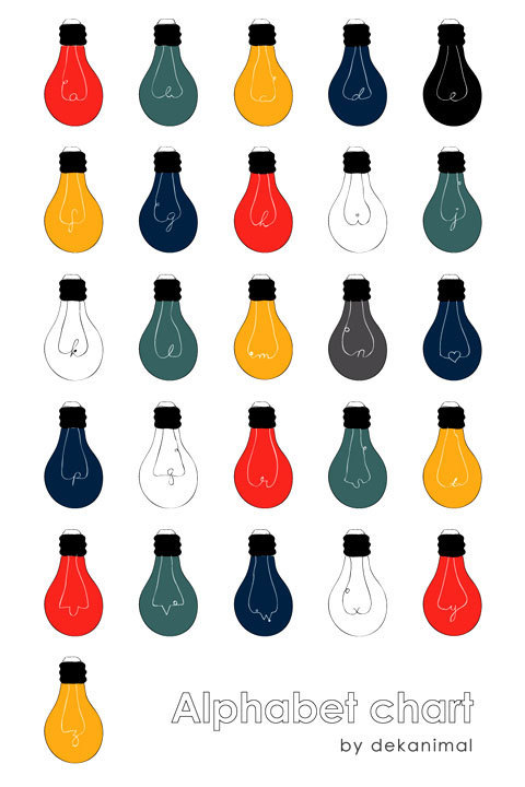 Lovely Light Bulbs / Alphabet Chart from Dekanimal (via we love typography)