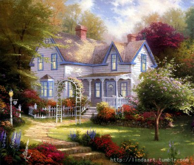 Lovely House—by Thomas Kinkade  Vintage style. Looks like a castle, which exists in a fairy tail.  Lovely House, oil on canvas, (If you are interested in it, inquiry price at xiamen1986@gmail.com)