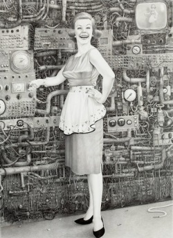 magnolius:  On by NY based Laurie Lipton.  One of the many incredibly detailed illustrations from her gallery. A style that fuses post apocalyptic imagery, with a 60's vibe that takes place in an Orwellian like world.  Highly recommend her website.